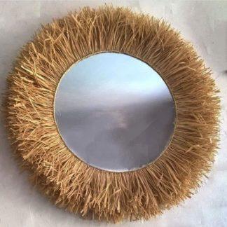 Miroir osier/raphia/palmier/rotin